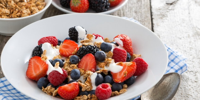 breakfast with fresh berries, yogurt and homemade granola, horizontal