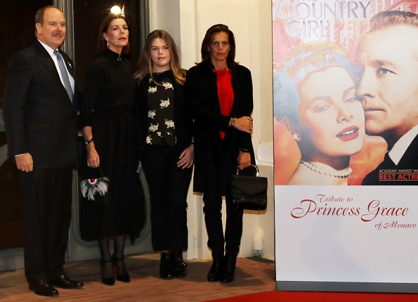 Prince Albert II, Princess Caroline, Camille Gottlieb and her mother, Princess Stephanie attended a tribute to Grace Kelly