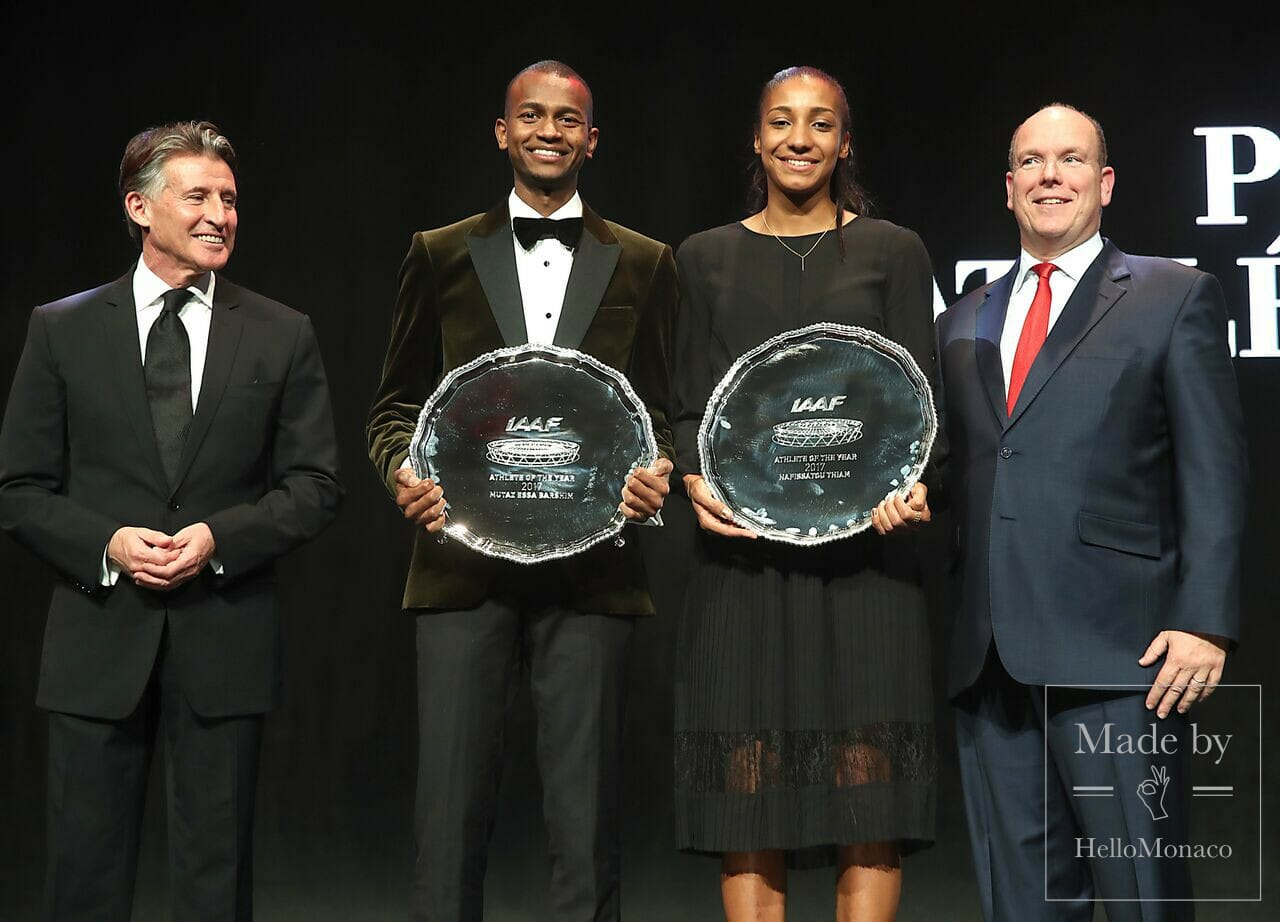 IAAF Athletics Awards - From Left - IAAF President Sebastian Coe, world athletes of the year Mutaz Barshim and Nafi Thiam, and Prince Albert of Monaco