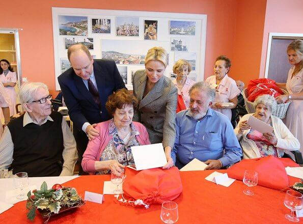 Princess Charlene and Prince Albert gave Christmas gifts to the elderly