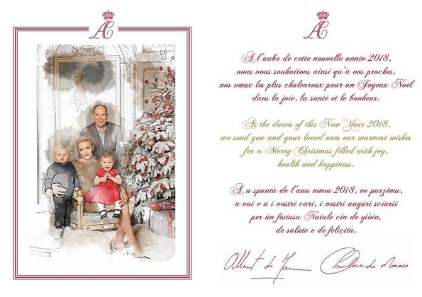 Christmas Greeting Card of Monaco Princely Family