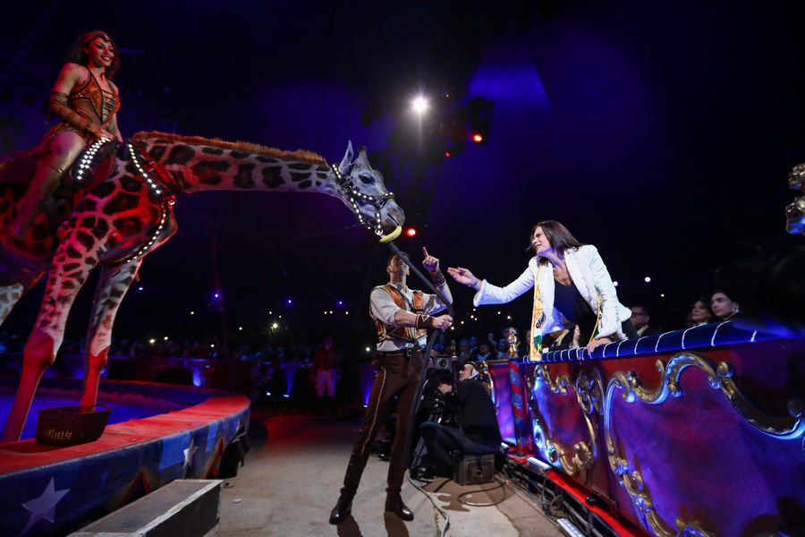 Giraffe and Princess Stephanie at 42nd International Circus Festival