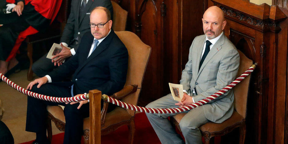 Prince Albert II of Monaco and new director of judicial services Laurent Anselmi