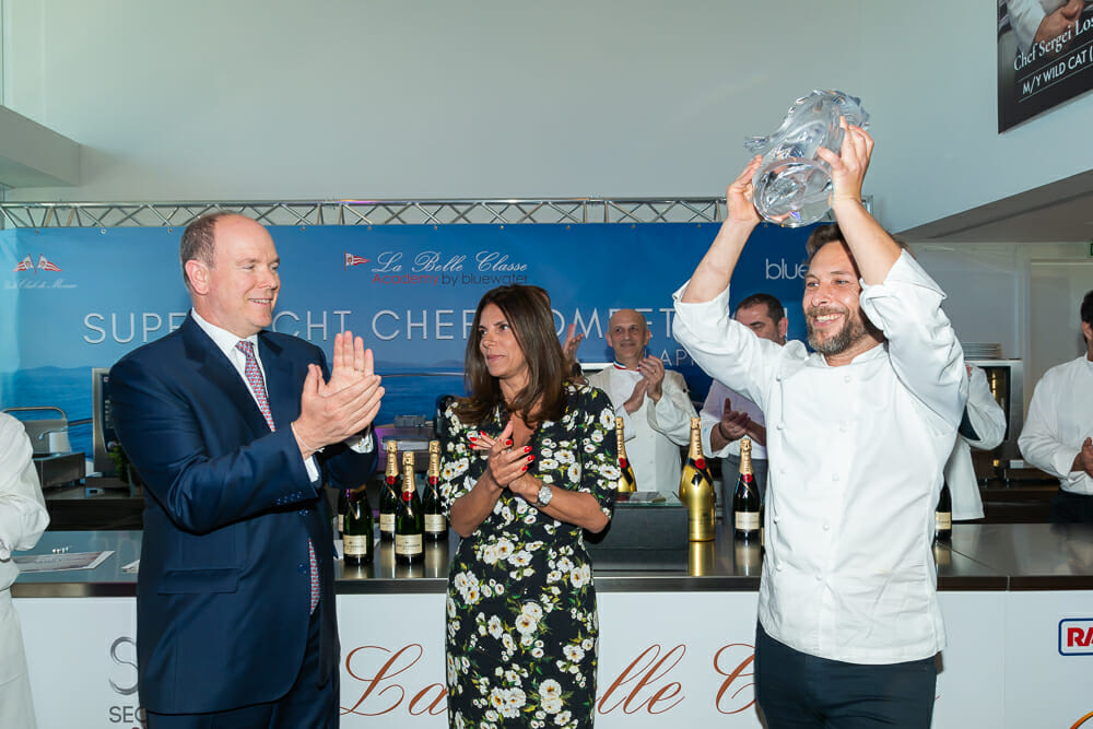 9th Annual Chef Competition Award Ceremony: H.S.H. Prince Albert II of Monaco and the chef Pablo Albuerne, winner of the 2018 edition.