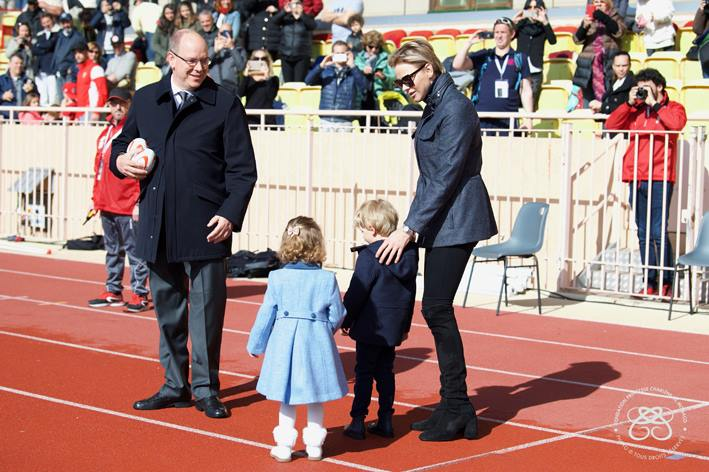 Prince Albert, Princess Charlene and their children Crown Prince Jacques and Princess Gabriela