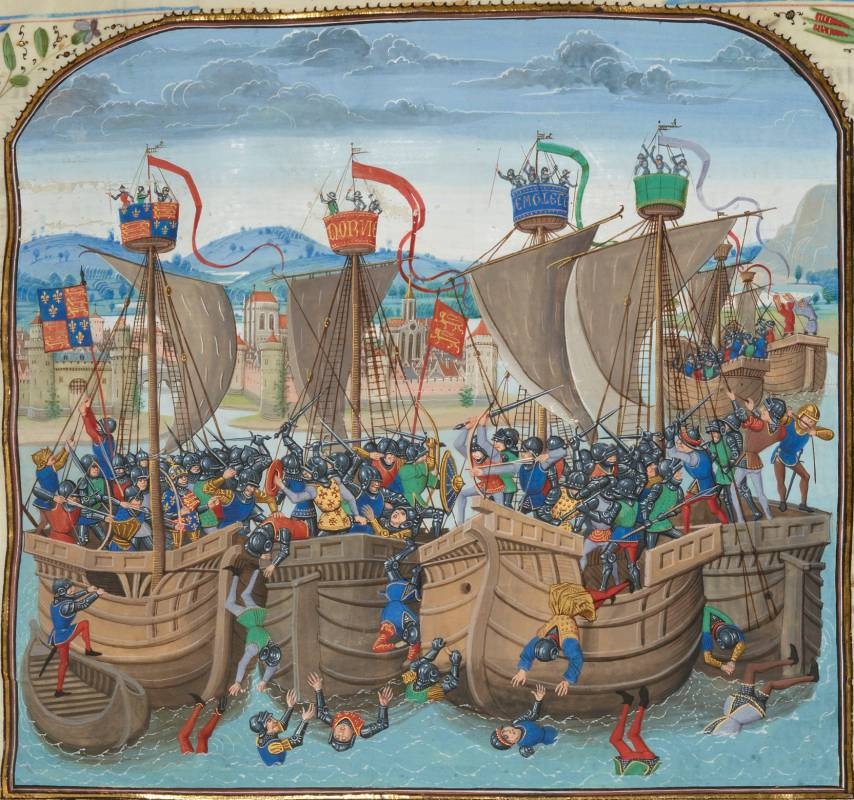 A miniature of the battle from Jean Froissart's Chronicles, 15th century. BNF, fr. 2643 fol. 72.