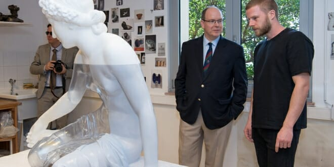 Prince Albert with sculpture inspired by the Nymph Salmacis by Bosio