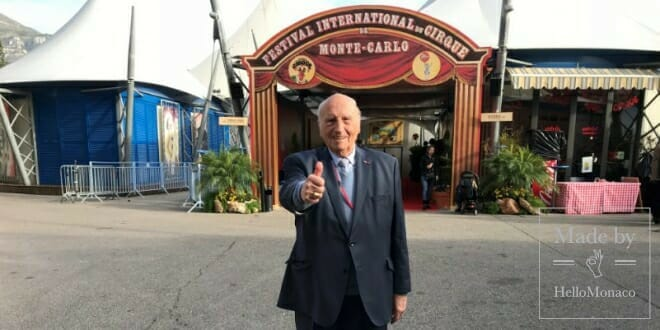 "Photo of World Circus Day in Monaco with Dr. Alain Frère: ""You can be the greatest athlete and Olympic champion, but not an artist"""