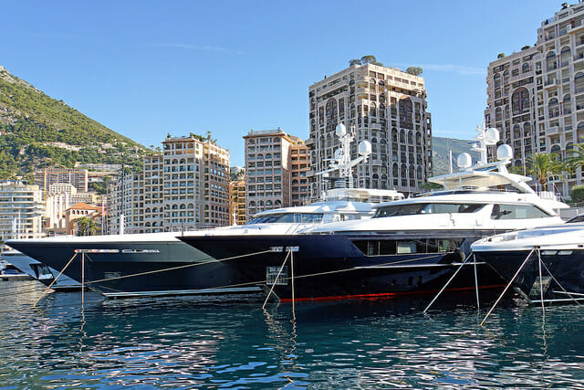 Yachts in the Monaco harbour