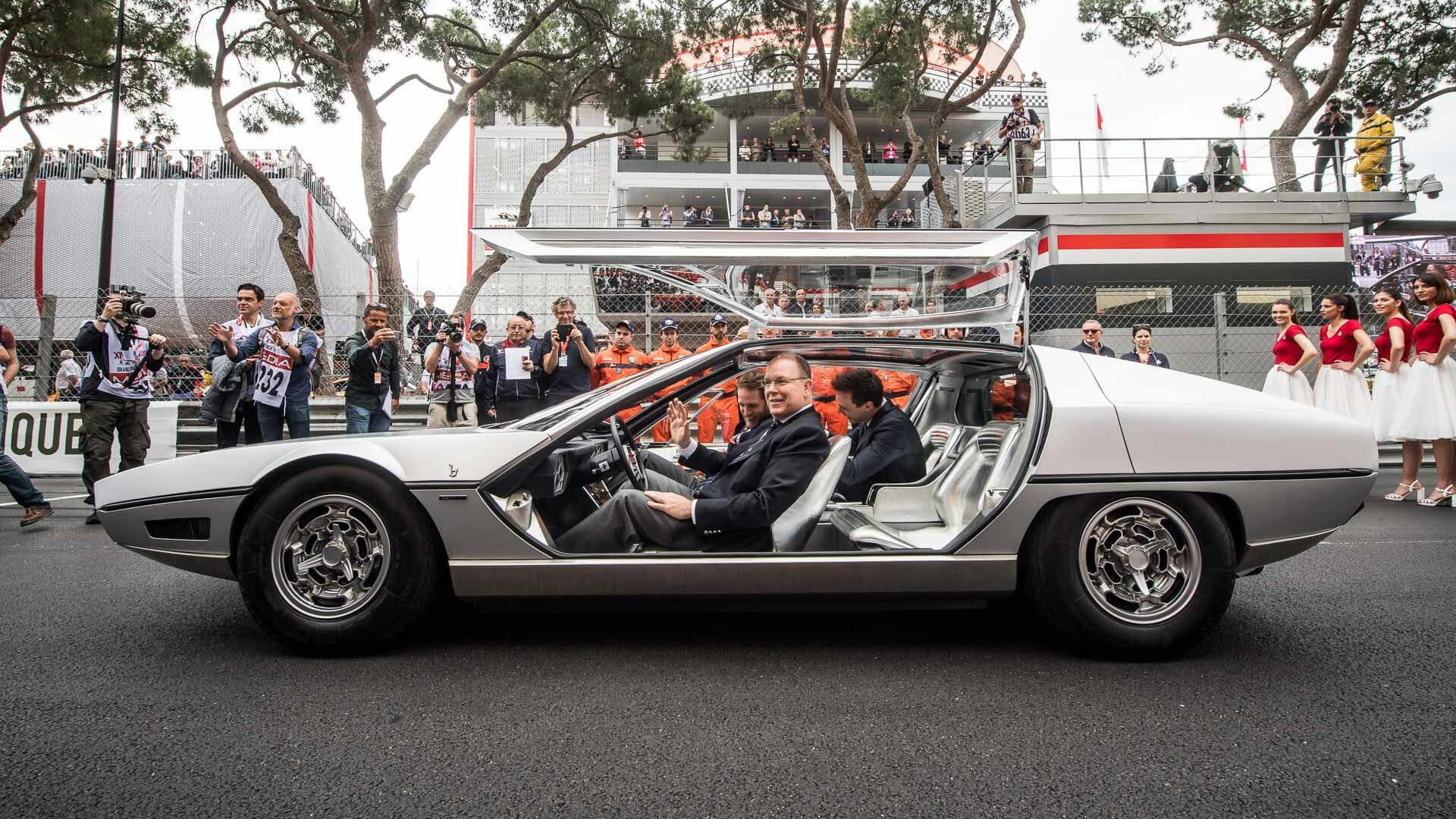Prince Albert II drives a 1967 Lamborghini Marzal