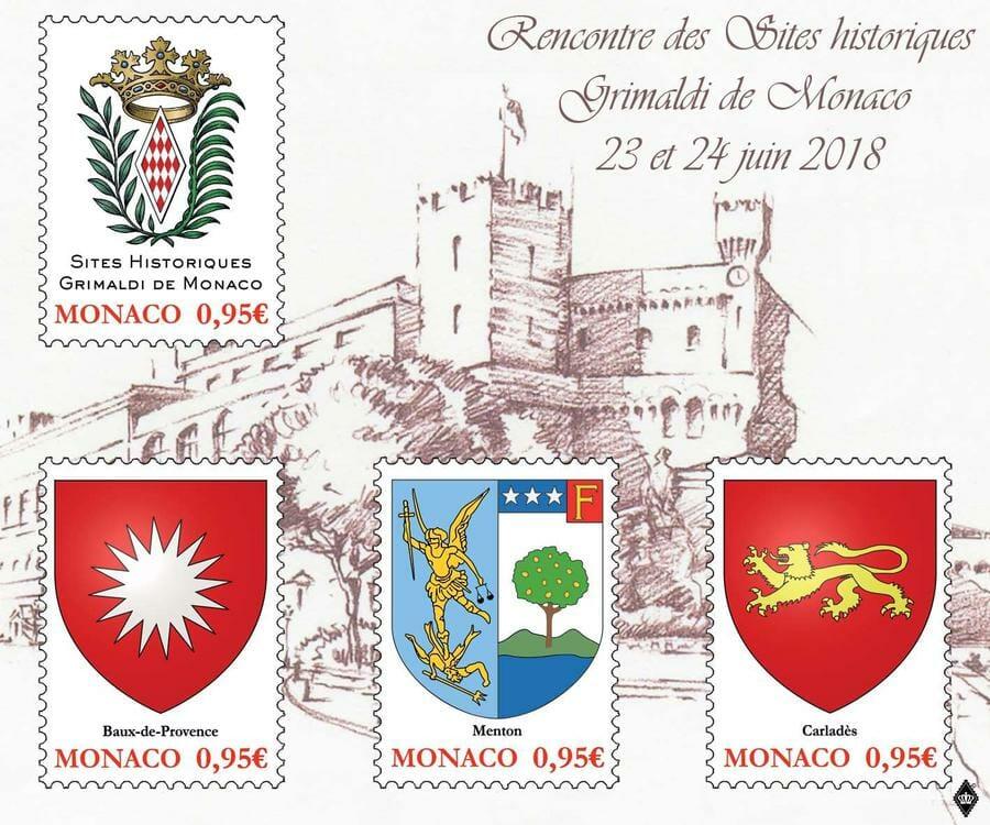 Photo of New Stamps Commemorate Grimaldi Historic Sites of Monaco
