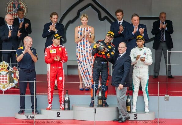 Princess Charlene Prince Albert Grand Prix 2018 Monaco podium
