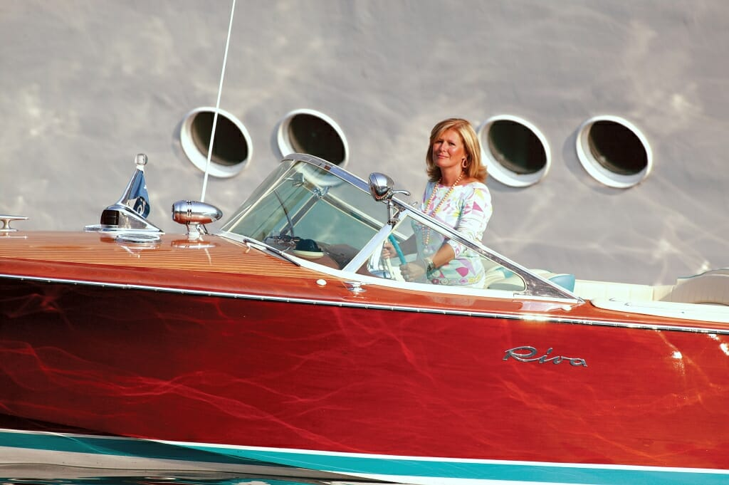 Lia Riva with Aquarama speedboat