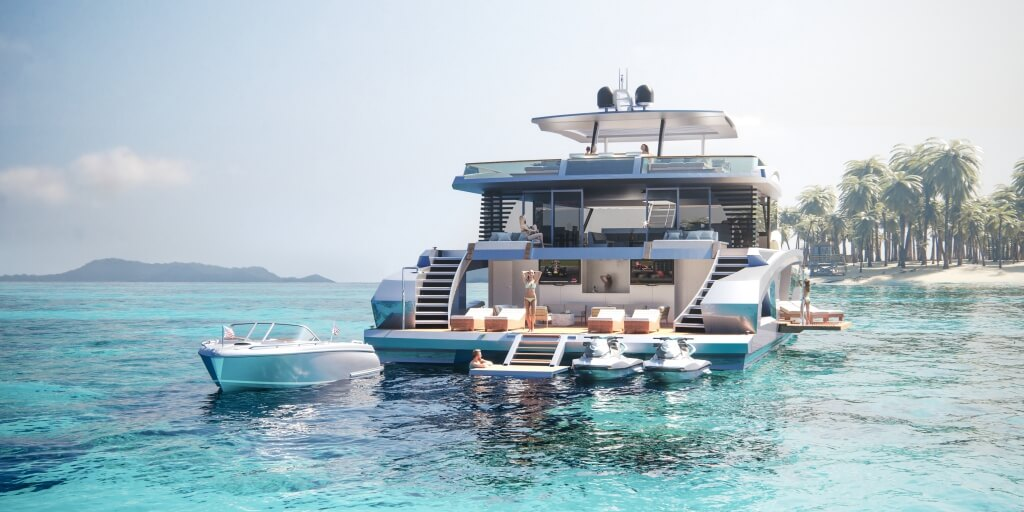 24-metre power catamaran by Lazzara Ombres Architects