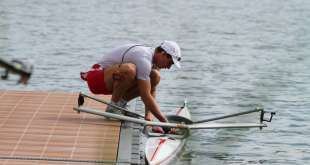 Monaco's Quentin Antognelli at Rowing Championships in Shanghai