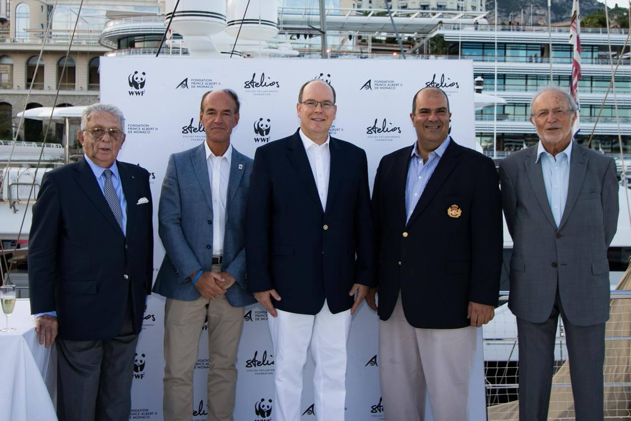 Prince Albert II with Claudio Segré, Marco Lambertini, Stelios and Bernard Fautrier at this year's fundraiser