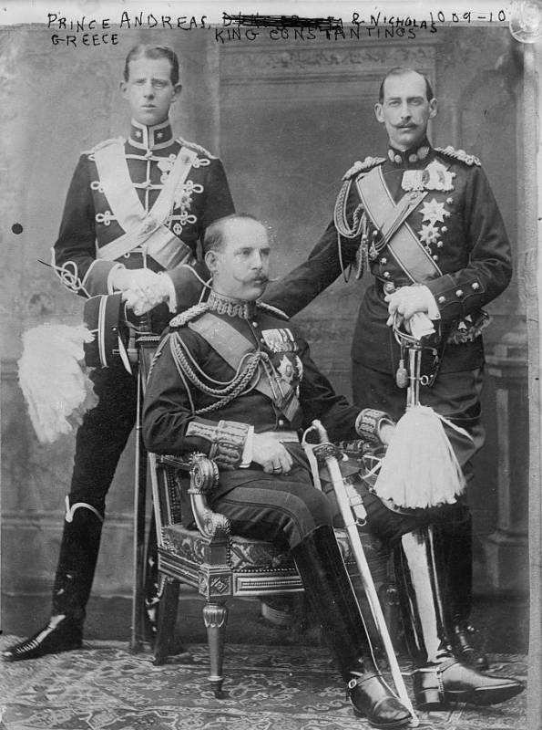 Prince Andrew, Crown Prince Constantine (seated) and Prince Nicholas of Greece. Given that Prince Andrew is depicted as a Second Lieutenant, the photo must have been taken shortly after his commission in 1901. @commons.wikimedia.org