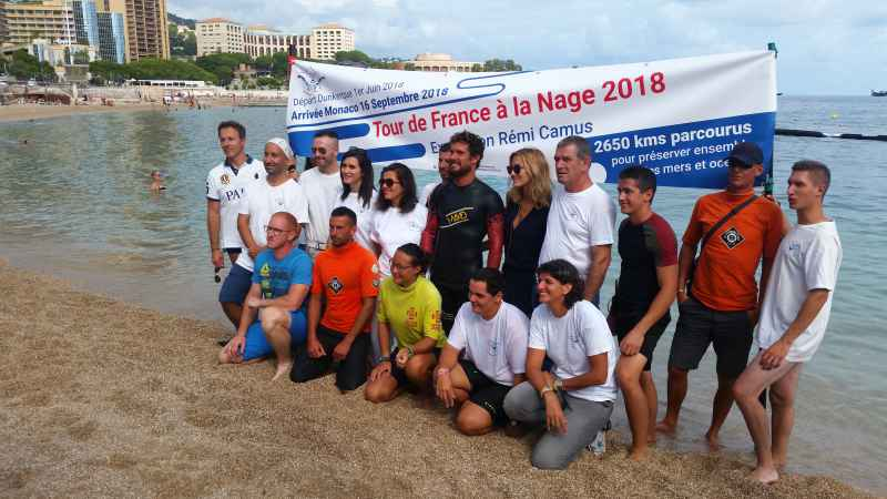 Photo of Rémi Camus' incredible swimming eco-adventure crossed the finish line at Larvotto Beach