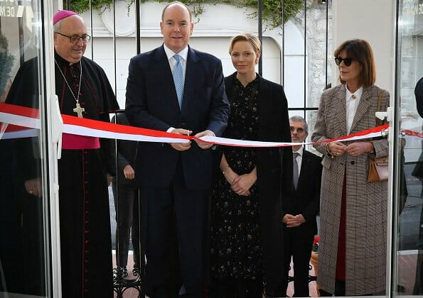 Princess Charlene and Princess Caroline attended the opening of Diocesan House