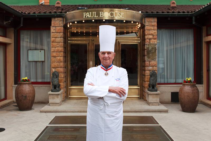 Paul Bocuse outside his restaurant