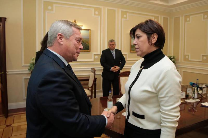 Vasily Golubev, Governor of Rostov Region, and Mireille Pettiti, Ambassador of the Principality of Monaco to the Russian Federation
