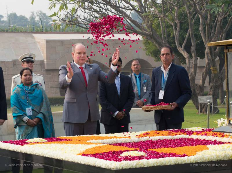 Prince Albert pays tribute to Gandhi and Meets India's President