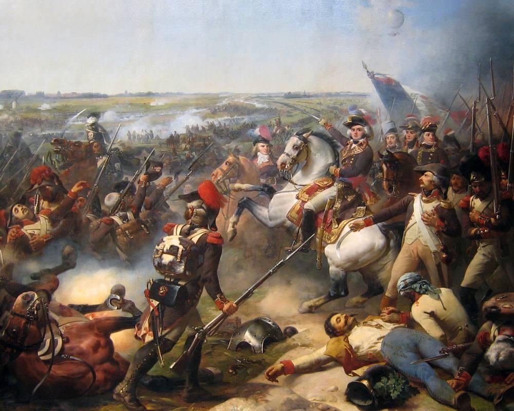 Battle of Fleurus, June 26. 1794, French troops led by Jourdan beat back the Austrian army