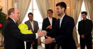 The stars of tennis received by H.S.H. Prince Albert II Sovereign Prince of Monaco at the Palace
