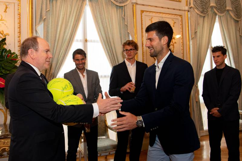 Photo of The stars of tennis received by H.S.H. Prince Albert II Sovereign Prince of Monaco at the Palace