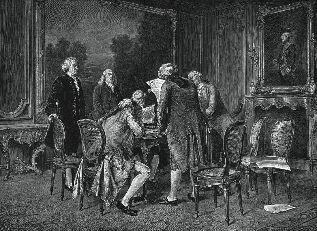 Signing the Preliminary Treaty of Peace at Paris, November 30, 1782. John Jay and Benjamin Franklin standing at the left. @wikipedia.org