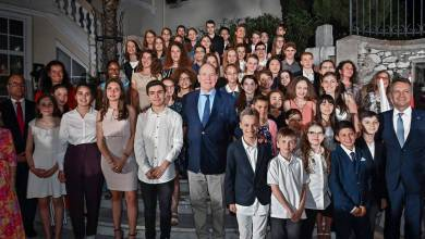 Photo of Prince Albert and Mayor Georges Marsan Honour 76 Students – Winners of the Monegasque Language Competition