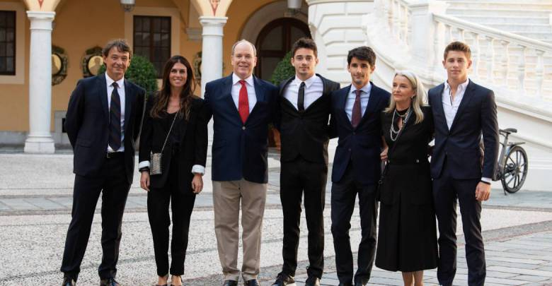 Charles Leclerc celebrates his F1 Victories with Prince Albert