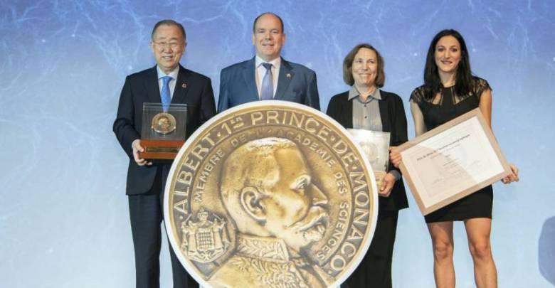 Ban Ki-moon, S.A.S. le Prince Souverain, Lisa Ann Levin, Violaine Pellichero - Grandes Médailles Albert Ier 2019 - © M Dagnino - Musée océanographique (low)