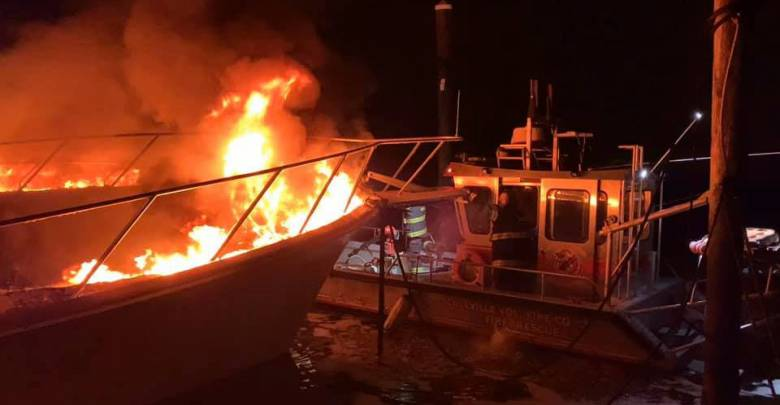 Two yachts destroyed by fire leaking fuel in New Jersey