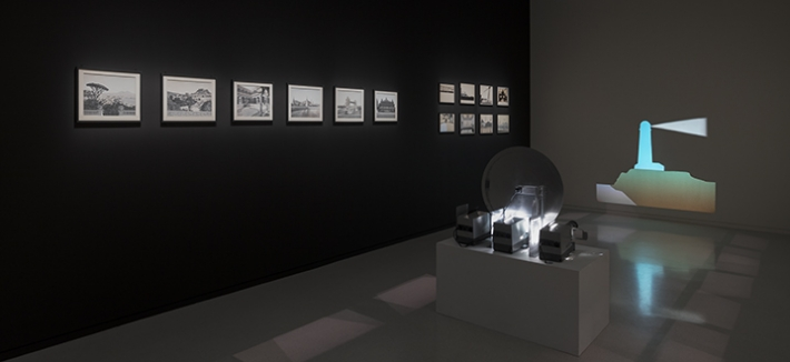 """Variations, les Décors lumineux d'Eugène Frey"" (""Variations, Eugène Frey's Light Set Projections""), an exhibition by João Maria Gusmão"