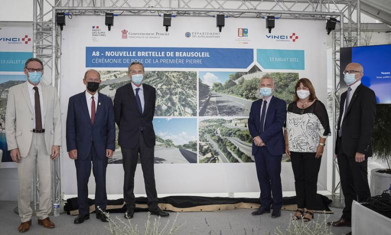 Laying of the first stone, New Beausoleil slip road on the A8 motorway